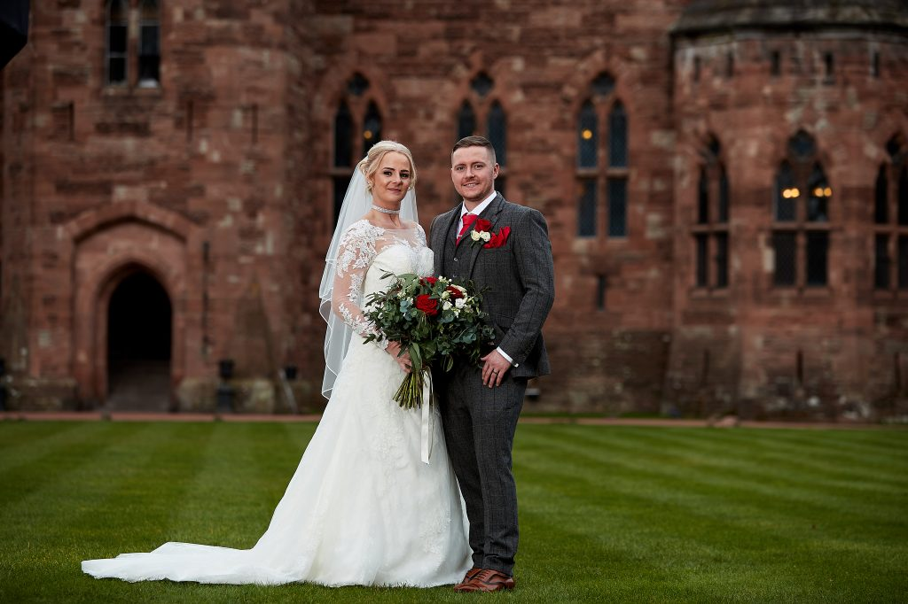 Moira McLoughlin and Chris McCue married at Peckforton Castle, Cheshire